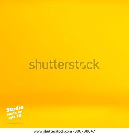 Vector :Empty vivid yellow studio room background ,Template mock up for display of product,Business backdrop. - stock vector