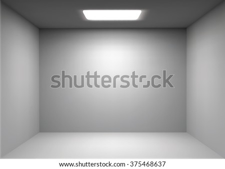 Vector empty white room. Render 3D. Perspective with Light and Ambient Occlusion - stock vector