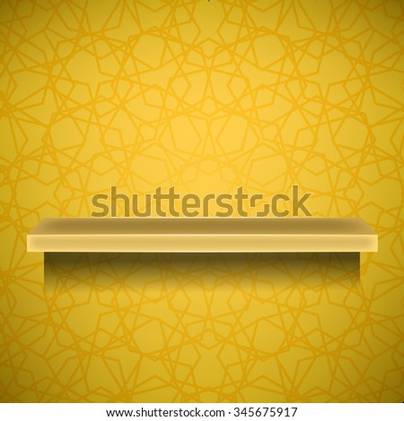 Vector Empty Yellow Shelf  on Ornamental  Yellow Lines Background - stock vector