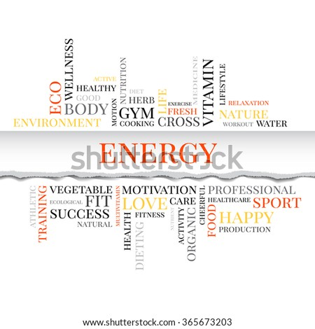 Vector ENERGY concept related words in tag cloud isolated on white with different association sport and healthy terms. The effect of torn paper - stock vector