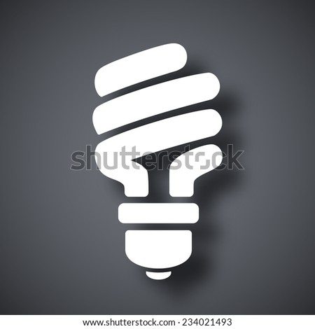 Vector energy saving fluorescent light bulb icon - stock vector