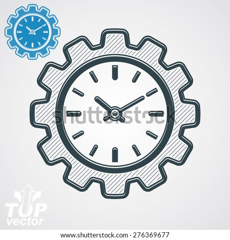 Vector engineering component â?? cog wheel, additional version included. Time management theme, 3d stylized clock in the shape of gear. - stock vector