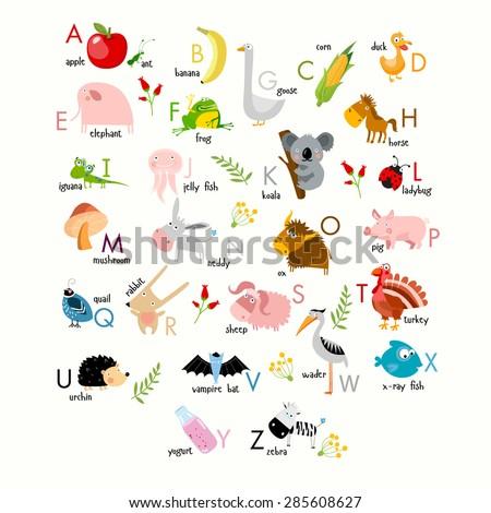 Vector English alphabet with animals - stock vector