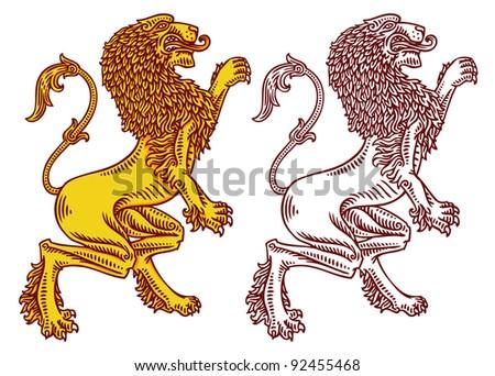 vector engraved heraldic lions - stock vector