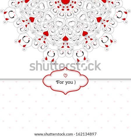 Vector envelope for invitations or congratulations. Abstract round pattern with curls and hearts. Wedding or Valentine's Day. Place for your text. - stock vector