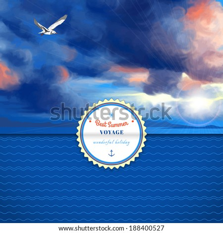 Vector envelope for invitations or congratulations. Overcast sky painted oil pastel. Sun shines through the clouds, flying seagull and sea. Simple background with wavy pattern. Sticker for your text - stock vector
