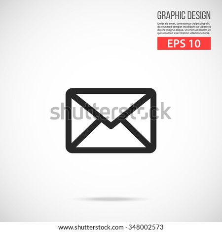 Vector envelope mail icon. Black icon. Modern flat design vector illustration, quality concept for web banners, web and mobile applications, infographics. Vector icon isolated on gradient background - stock vector