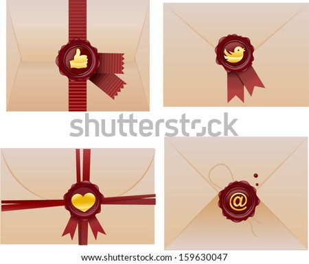 vector envelope with iconic wax seal set  - Separate layers for easy editing - stock vector
