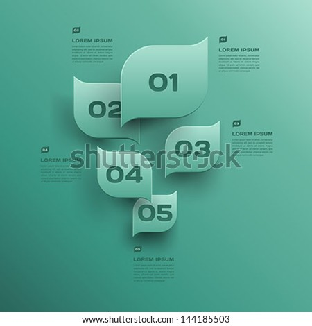 vector environmental design trend - infographics with green leaf  - stock vector