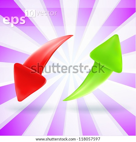 Vector eps10 arrow icon glossy green up and red down emblems - stock vector