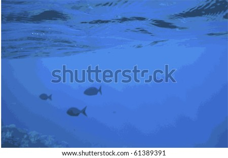 Vector, eps8.  Blue abstract background of three fish swimming below the surface of the water and above a coral reef. - stock vector