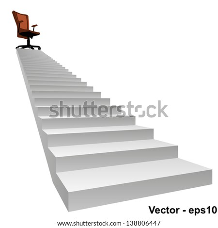 Vector eps concept conceptual 3d stair climbing to a leader,chief or promotion chair on top isolated white background,metaphor to career,business,success,achievement,winner,goal,step or victory - stock vector