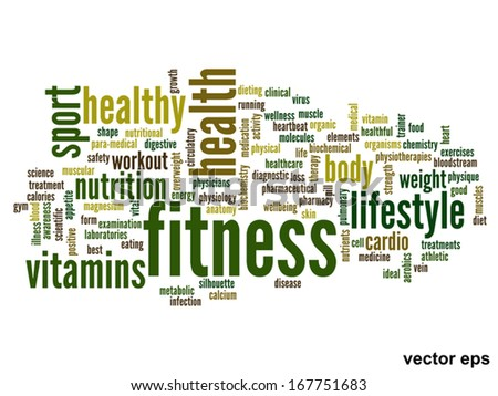 Vector eps concept or conceptual abstract word cloud on white background as metaphor for health,nutrition,diet,wellness,body,energy,medical,fitness,medical,gym,medicine,sport,heart or science - stock vector