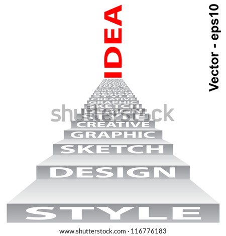 Vector eps concept or conceptual 3D stair or steps isolated on white background as metaphor for design,graphic,hand ,child,young,idea,style,creative,fashion,artist,art,decor abstract project - stock vector