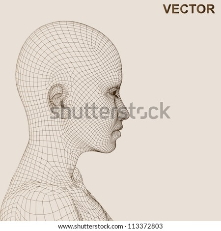 Vector eps concept or conceptual 3D wireframe human female head isolated on beige background as metaphor for technology,cyborg,digital,virtual,avatar,science,fiction,future,mesh,vintage abstract - stock vector