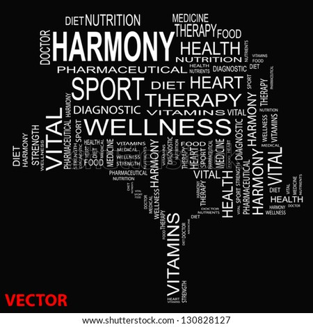 Vector eps concept or conceptual white text wordcloud or tagcloud as a tree isolated on white background as metaphor for health,nutrition,diet,wellness,body,energy,medical,sport,heart or science - stock vector
