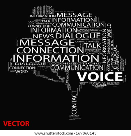 Vector eps conceptual white tree word cloud on black background, metaphor for communication, speech, message, mail, relation, dialog, talk, report, contact, stair, climb, email, internet wordcloud - stock vector