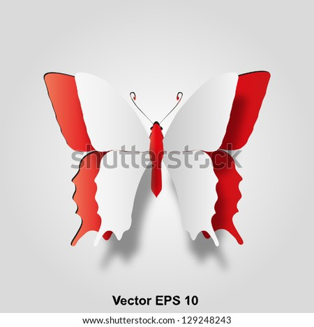 Vector eps 3D abstract concept or conceptual white paper with red background butterfly shape or symbol, metaphor to spring,summer,art,beauty,education,elegance,paperwork,card,creative or sticker - stock vector