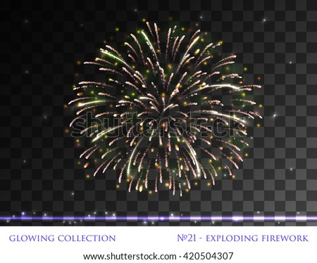 VECTOR eps 10. Glowing collection. Firework, light effects isolated and grouped. Transparent sunlight lens flare, stars. Shining elements and stars. Holiday fireworks. Green golden Firework   - stock vector