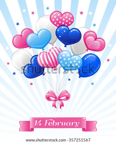 VECTOR eps 10. Happy Valentines Day ballones. Candy hearts and bows suitable fot child design. See new Cute design in my portfolio. Enjoy! Wish you to love and be loved! - stock vector