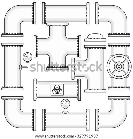 Vector EPS8 kit for pipeline construction include pipes, caps, valves, curve elbows and manometers. Industrial set for design. - stock vector