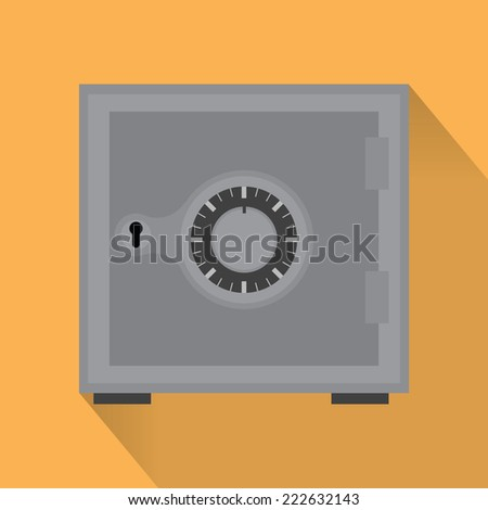 Vector  EPS 10  safe flat icon  with shadow  and combination lock - stock vector