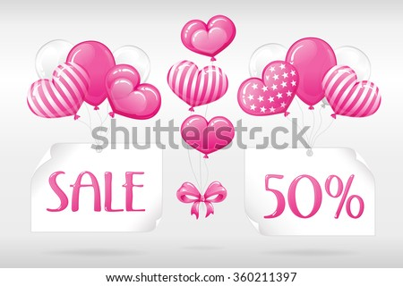 VECTOR eps 10. SALE 50%! Design FOR Mothers day, Valentines day, Greeting, Wedding invitations and others romantic ways to use this illustration. Enjoy different  balloons colores in my portfolio!  - stock vector