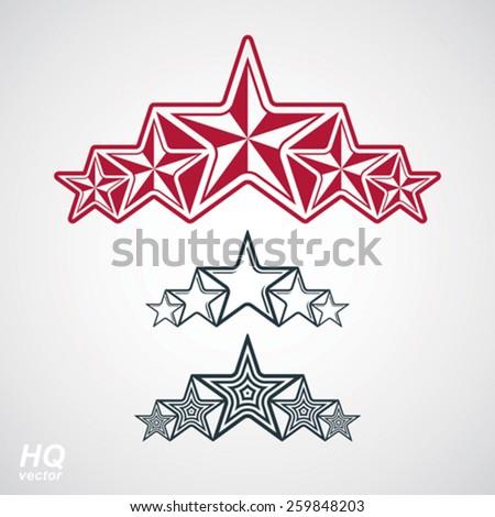 Vector eps8union symbol. Festive design element with stars, decorative luxury template. Corporate branding icons. Social concept theme emblems set. - stock vector