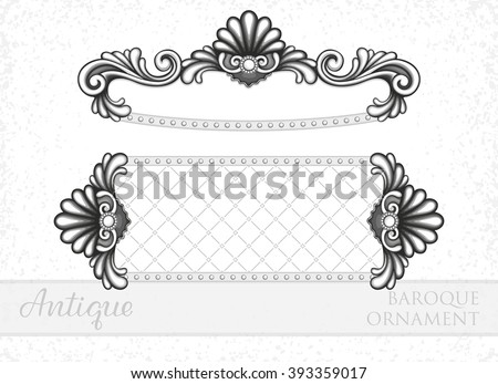 VECTOR eps 10. Vintage Antique baroque ornament. The 7th ornament in my collection. Others are in my SET. Border frame filigree engraving, Calligraphic Design Elements vintage antique Photo Frame  - stock vector