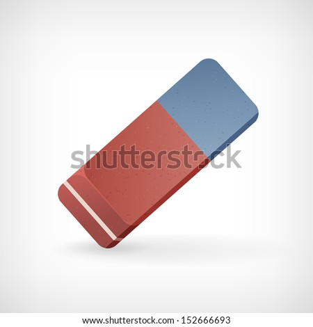 Vector eraser illustration isolated from background - stock vector