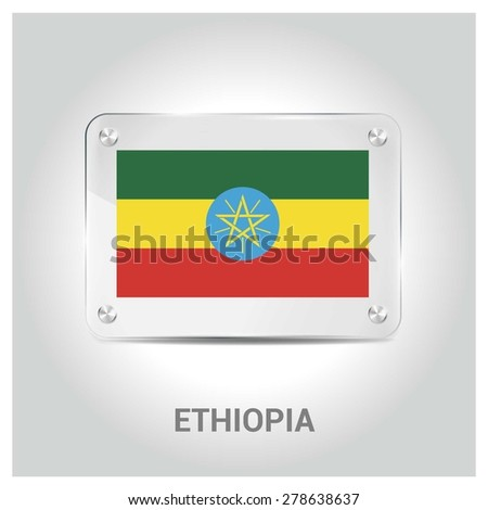 Vector Ethiopia Flag glass plate with metal holders - Country name label in bottom - Gray background vector illustration - stock vector