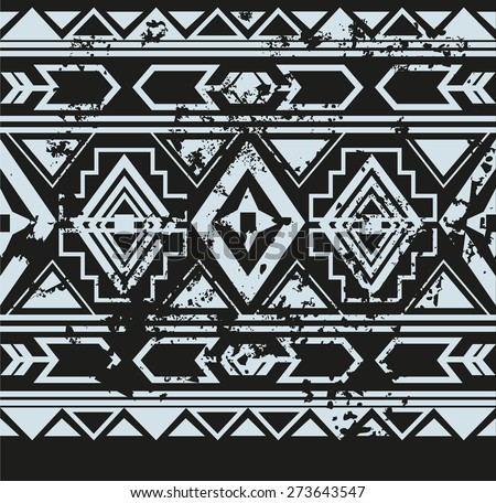 Vector ethnic seamless pattern with american indian traditional ornament in black and white colors. Tribal background. Aztec design for fabric. Print of native american art. - stock vector