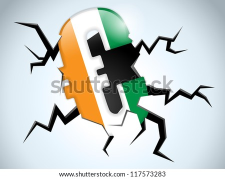 Vector - Euro Money Crisis Ireland Flag Crack on the Floor - stock vector