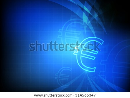 Vector : Euro symbol with grid and blue background - stock vector