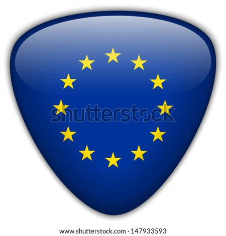 Vector - Europe Flag Glossy Button - stock vector