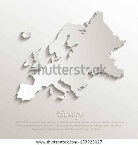 vector Europe map card paper 3D natural - stock vector