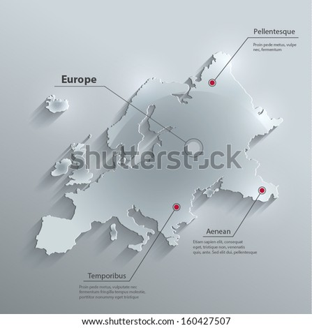 vector Europe map glass card paper 3D - stock vector