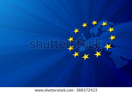 Vector Europe map with European union flag. Blue background and yellow stars. European union star. European union vector background. European Union. Vector blue flag of European union. Europa. Union - stock vector