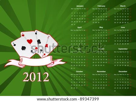 Vector European calendar with cards over green background - stock vector