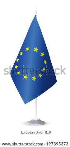 Vector European Union flag. Vector Flagstaff. - stock vector