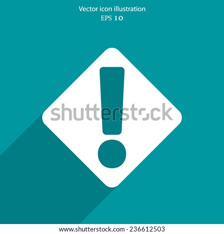 Vector exclamation web flat icon background. Eps 10. - stock vector