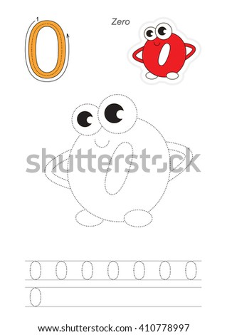 Vector exercise illustrated alphabet. Learn handwriting. Page to be traced. Complete english alphabet. Tracing worksheet for figure Zero. Figures and fingers. - stock vector