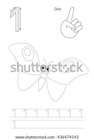 Vector exercise illustrated Figures from Zero to Twelve. Learn handwriting. Kid tracing game. Education and gaming. Page to be traced. Tracing worksheet for figure 1. - stock vector