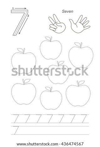 Vector exercise illustrated Figures from Zero to Twelve. Learn handwriting. Kid tracing game. Education and gaming. Page to be traced. Tracing worksheet for figure 7. - stock vector