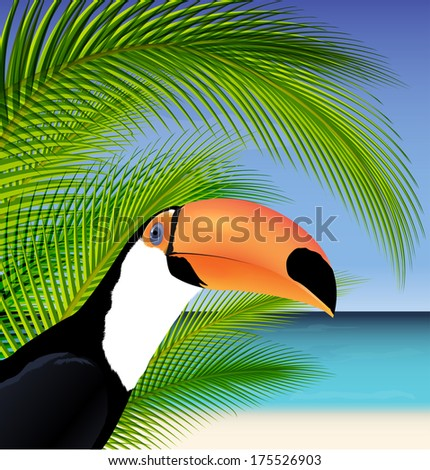 Vector Exotic trip card  with palm tree and Toucan - stock vector