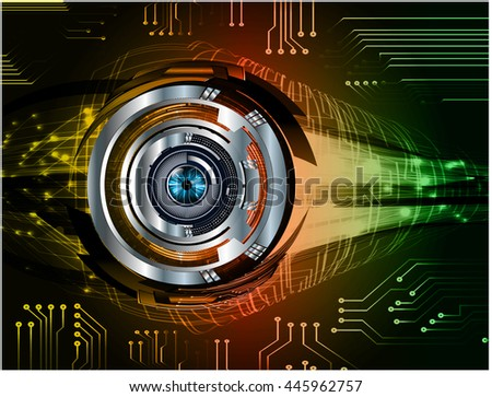 vector eyeball future technology, security concept background, Dark yellow red green cyber Light Abstract for computer graphic website internet. circuit. illustration. infographics. motion move - stock vector