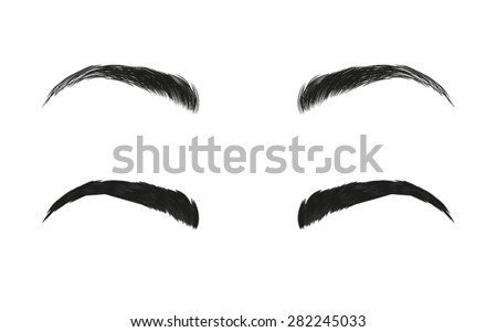 Vector eyebrows, realistic and cartoon style - stock vector