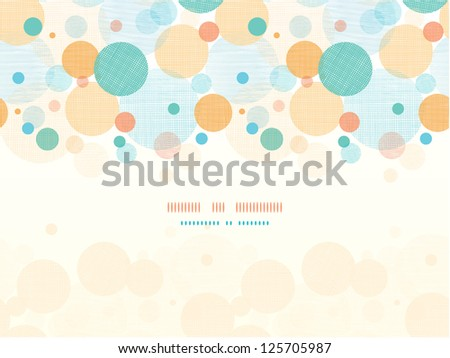 Vector fabric circles abstract seamless horizontal pattern background border with hand drawn elements - stock vector