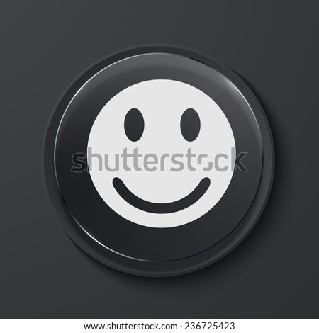 Vector face modern black glass circle icon. Eps10 - stock vector