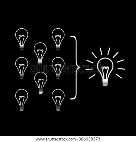 Vector facilitating skills icon of creating one big idea from many small ideas | modern flat design soft skills linear illustration and infographic white on black background - stock vector